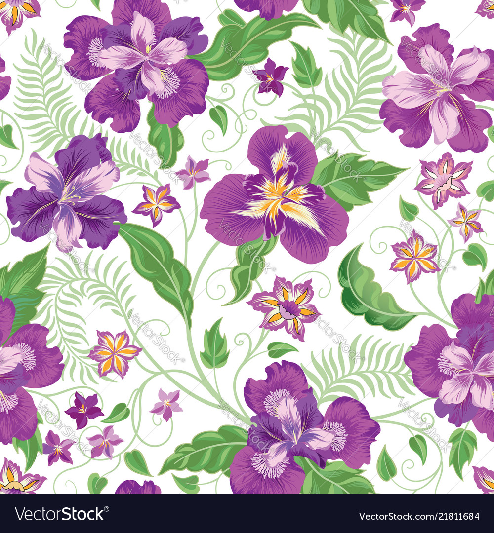 Floral seamless pattern garden flowers background