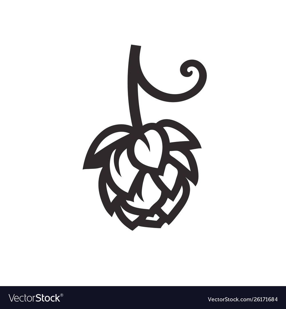 Hop cone icon design element for beer prodaction