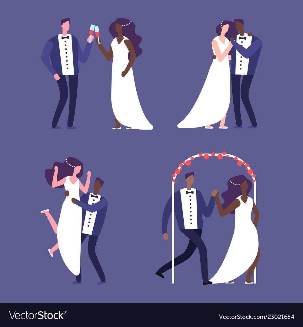 Interracial marriage wedding couples