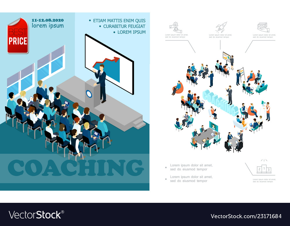 Isometric business education composition