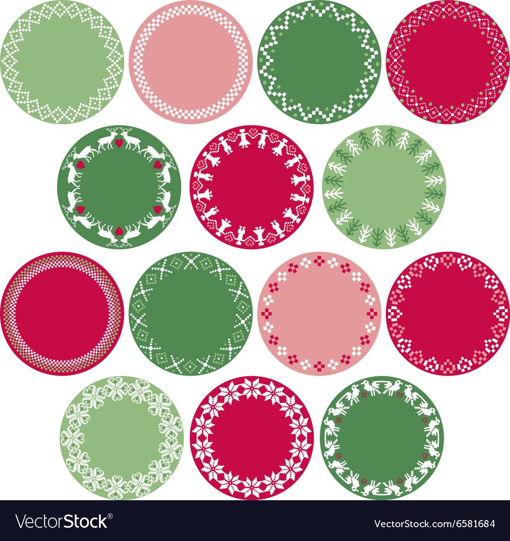 Nordic circle labels vector image