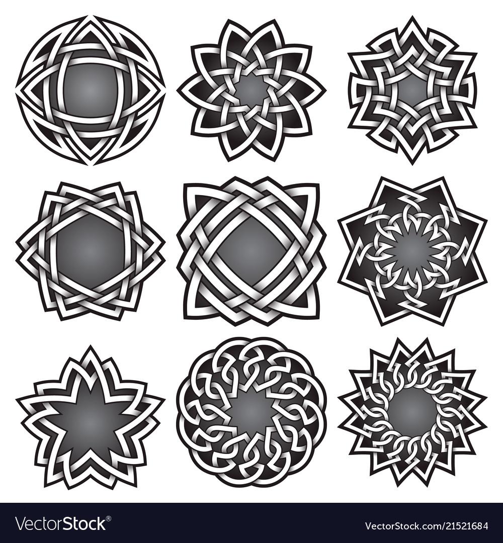 Set of logo symbols in celtic knots style