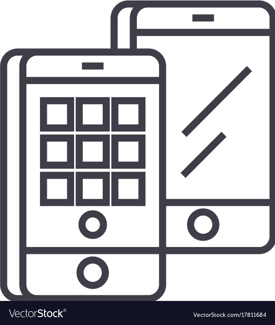 Smartphones isometric line icon sign
