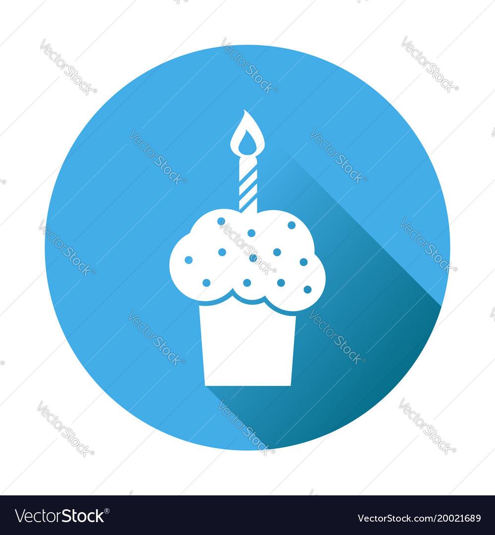 Birthday cake flat icon fresh pie muffin on blue