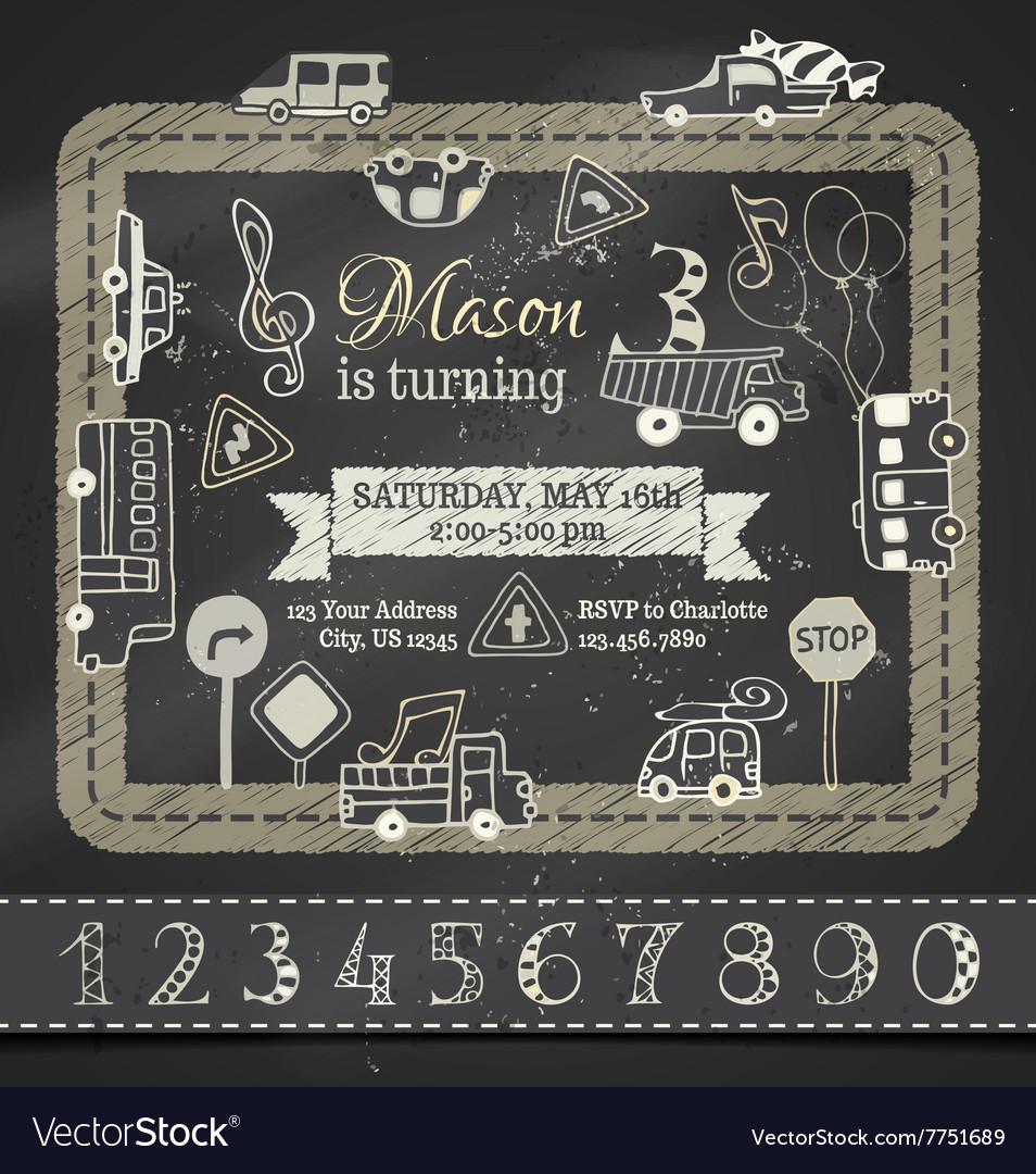 chalk birthday invitation template royalty free vector image