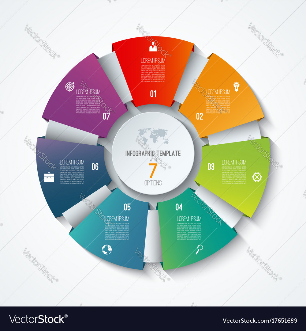 Circle infographic template with 7 options vector image