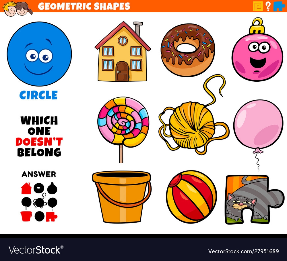 Circle Shape Educational Game For Kids Royalty Free Vector