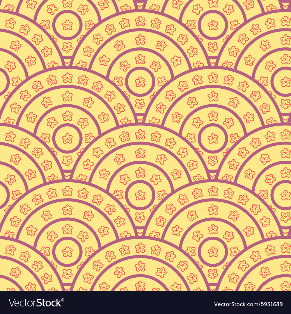 Circle With Flower Shape Seamless Pattern