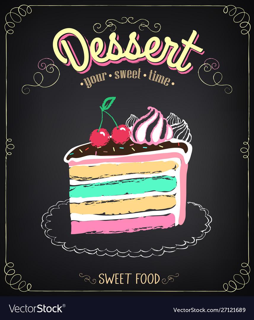 Dessert cake chalking freehand drawing