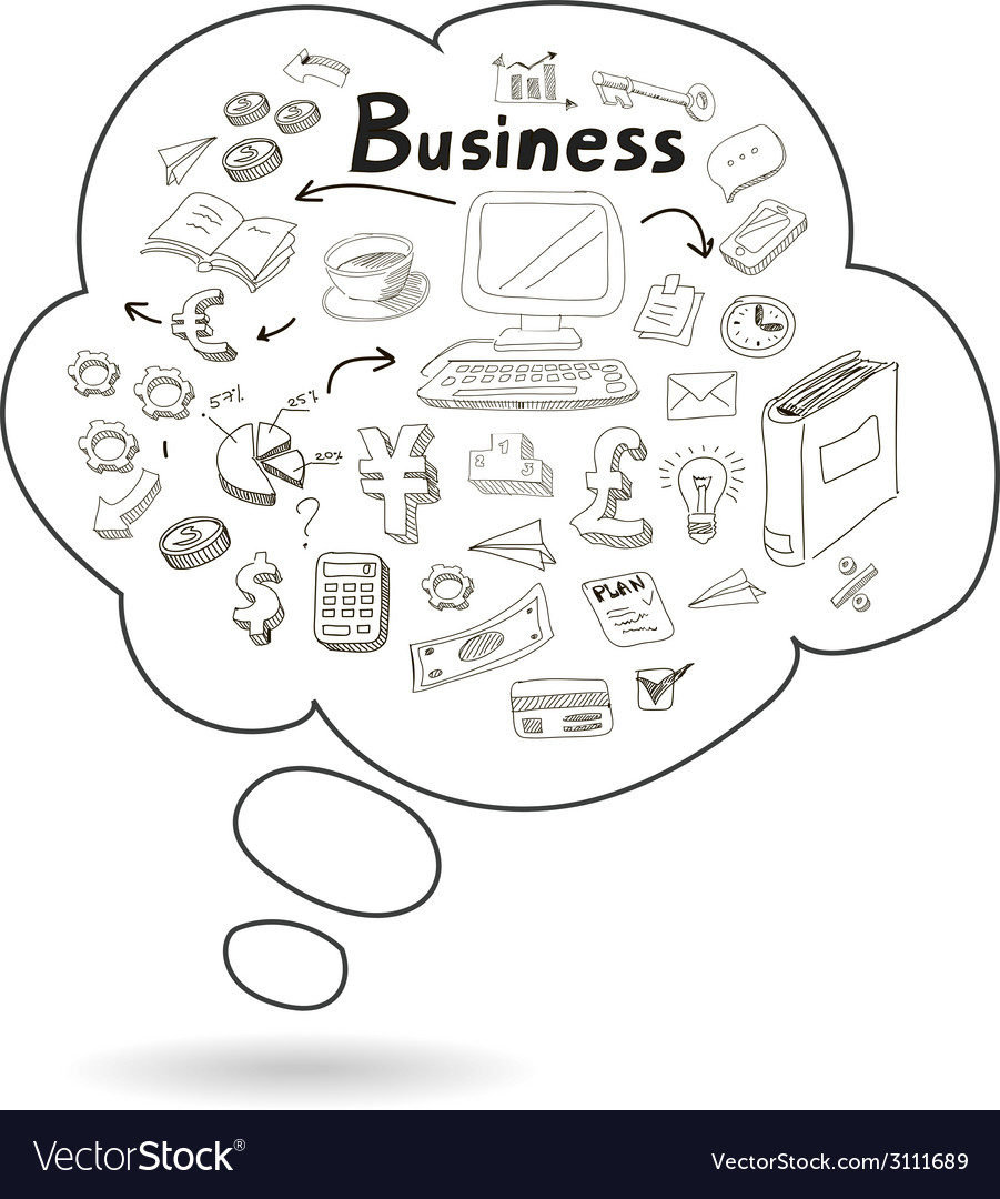 Doodle speech bubble icon with business
