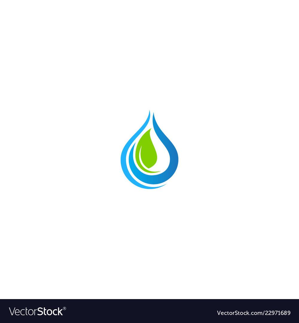 Eco green leaf bio droplet pure water logo