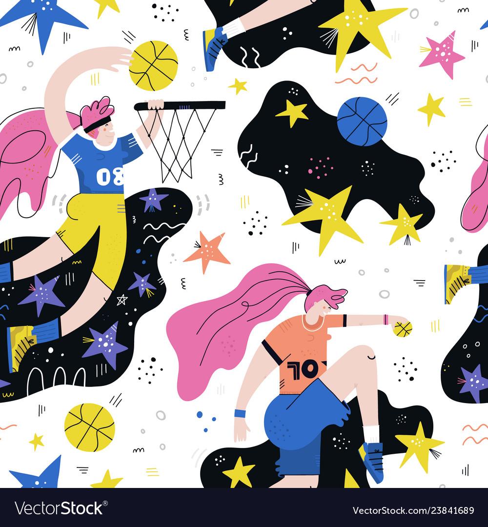 Female basketball player seamless pattern
