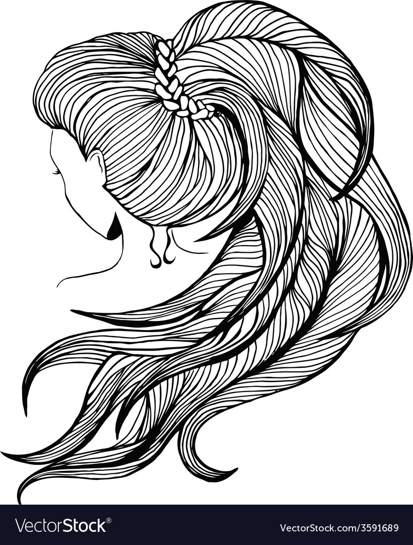 Long ponytail - line art