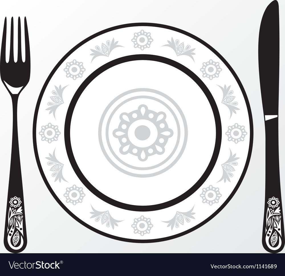 Menu plate fork knife vector image