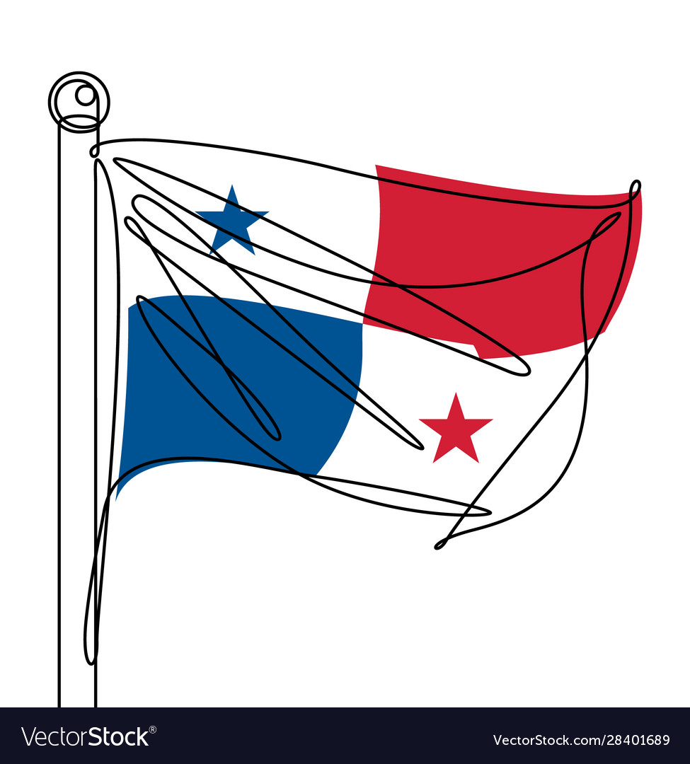 Panama national flag one continuous line abstract