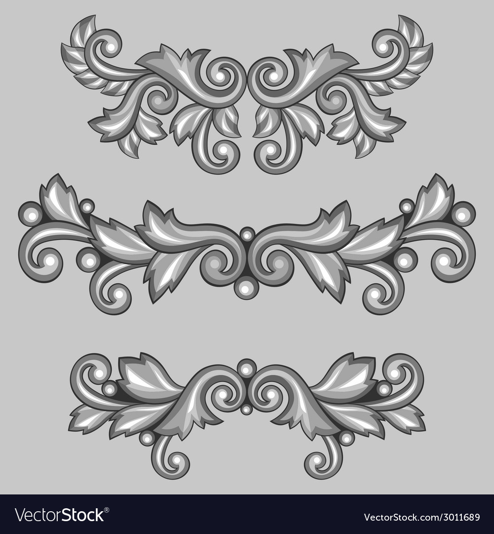 set of baroque ornamental antique silver scrolls vector image