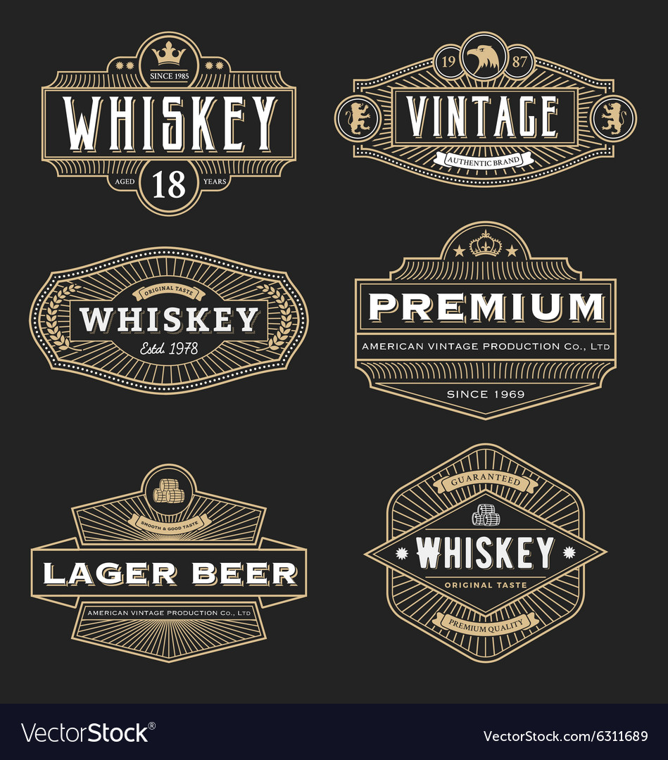 Vintage frame design for labels banner logo emblem