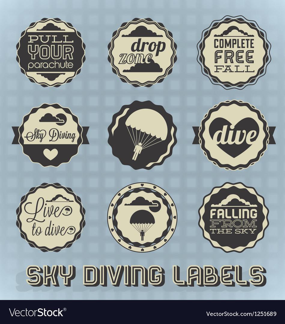 Vintage Style Skydiving Labels vector image