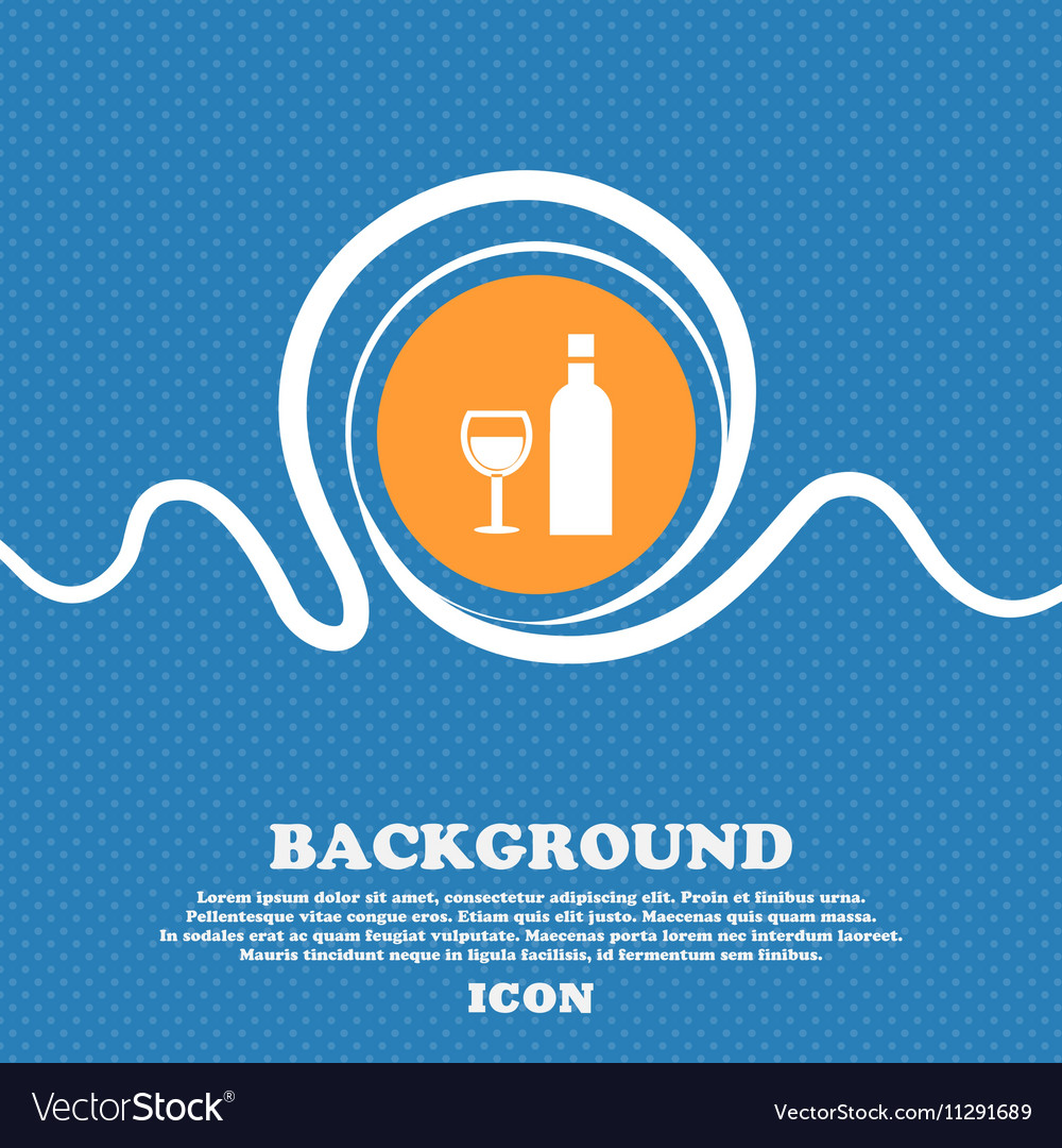 Wine Icon sign Blue and white abstract background vector image