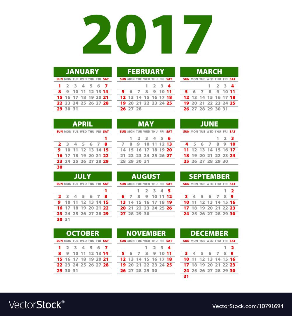 Calendar for 2017 Week Starts Monday