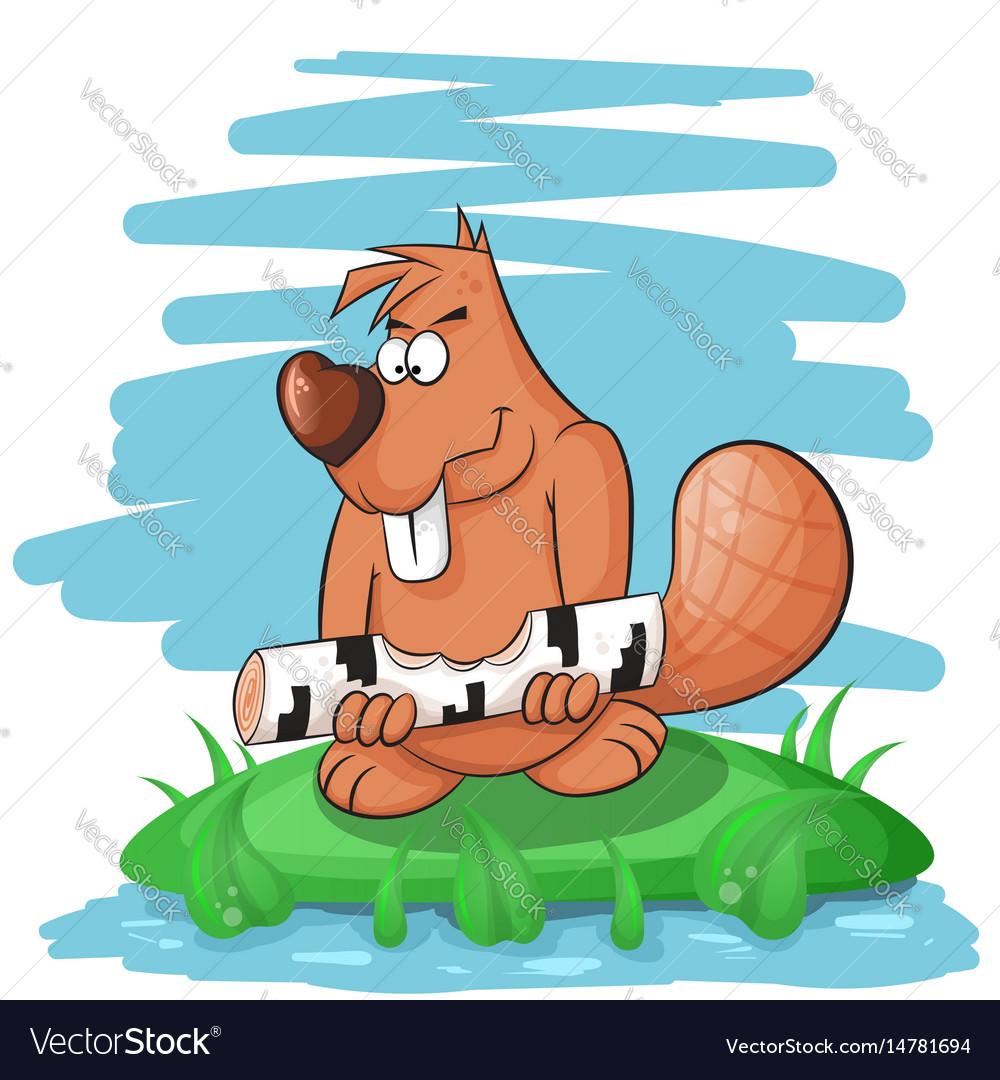 Cartoon funny beaver gnawing on a tree