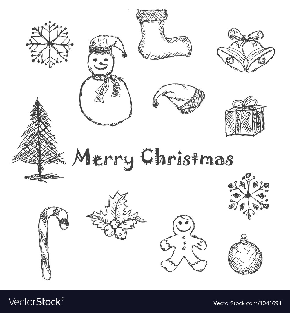 Christmas icons black and white