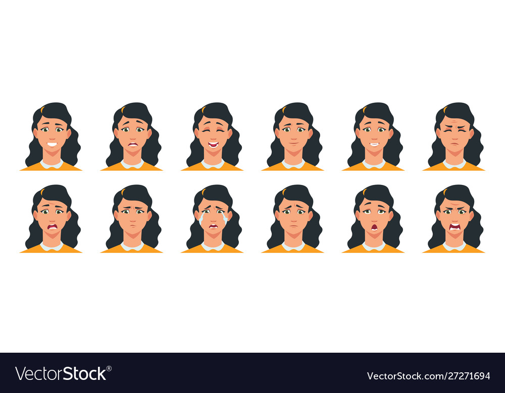 Face expression cartoon girl character with sad