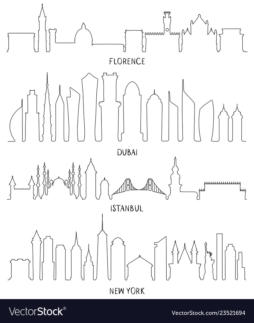Florence dubai new york and istanbul lineart