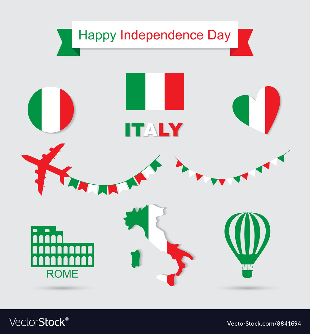 Italy flag banner and icon patterns set