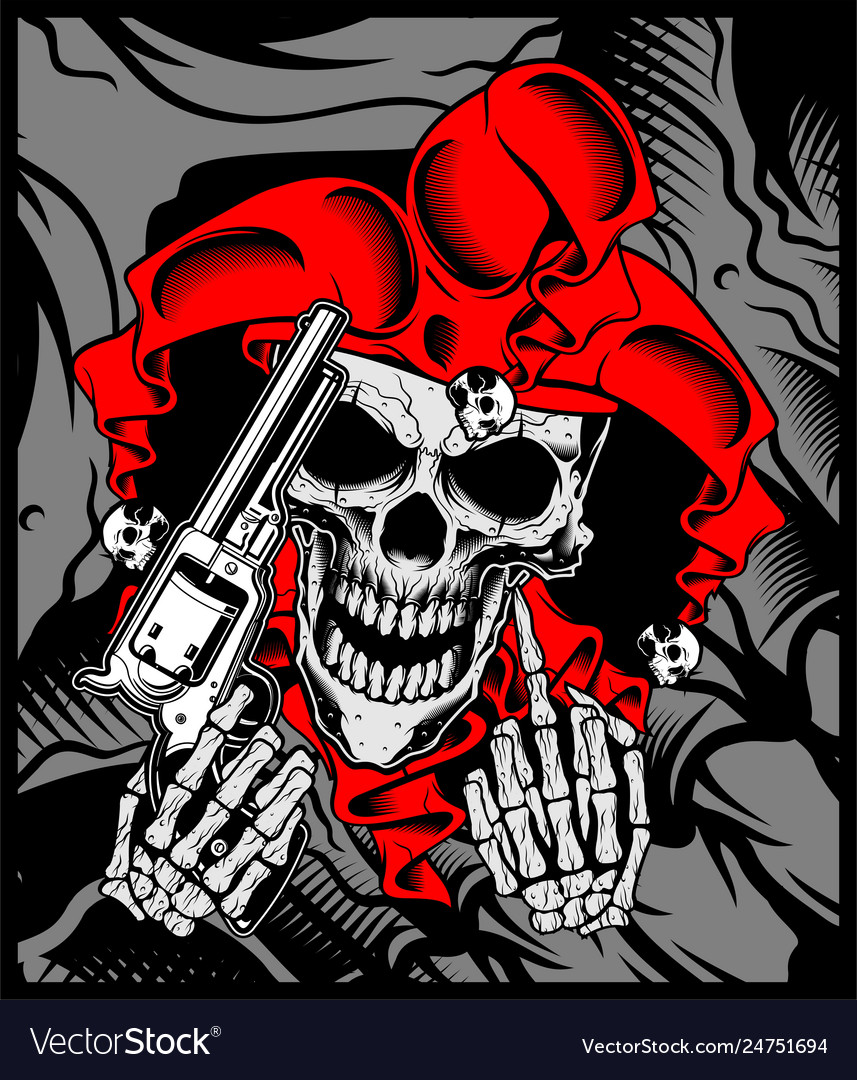 Jokers Skull Holds A Gun Hand Drawing Vector Image