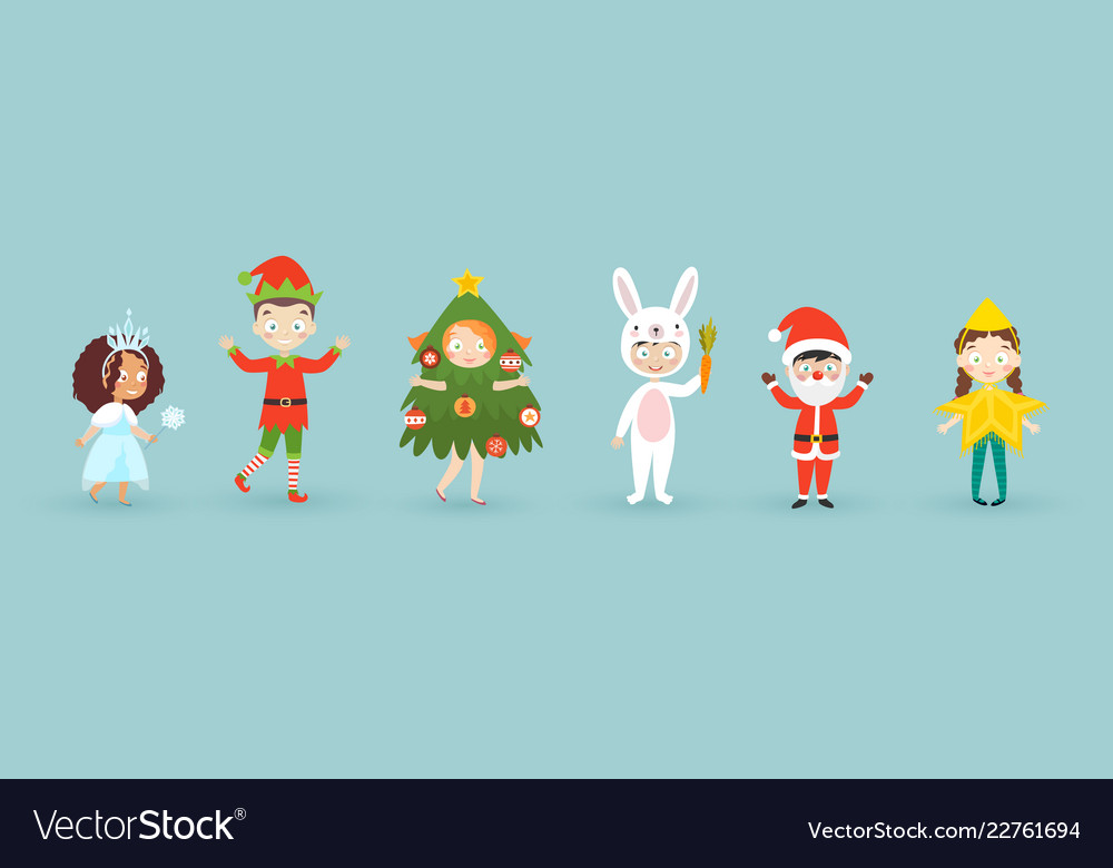 Kids wearing christmas costumes funny and cute