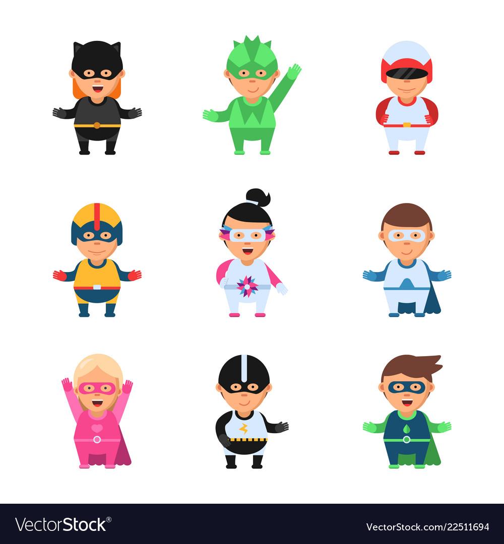 Little superheroes hero comic cartoon 2d figures