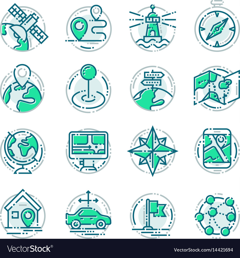 Navigation outline location pin pictogram icons