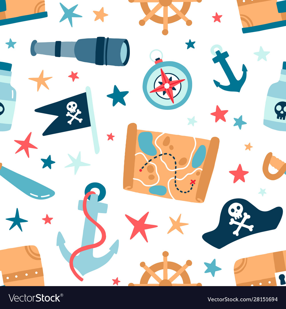 Pirate sea flat seamless pattern sailing