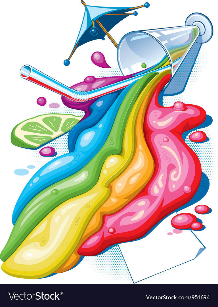Rainbow cocktail vector image