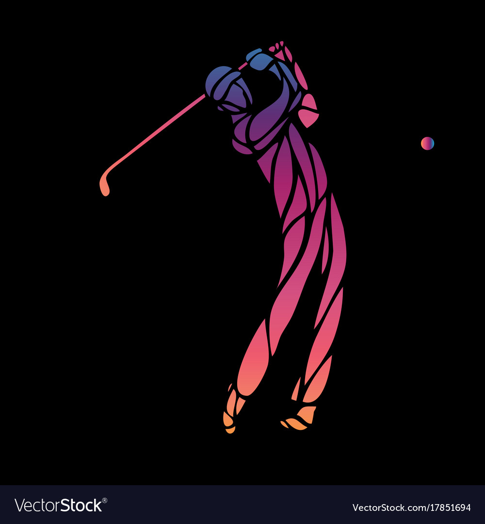 Silhouette of golf player eps10