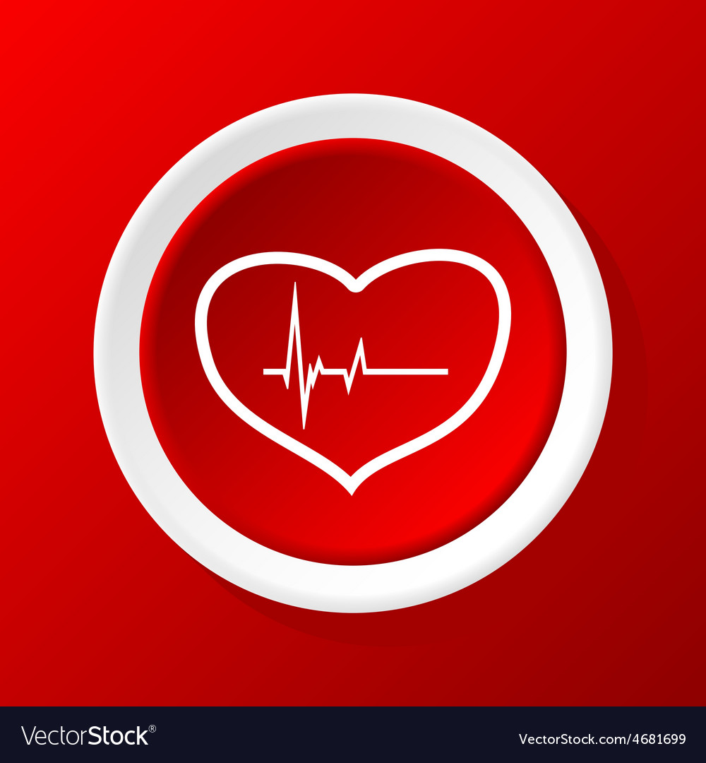 Beating heart icon on red