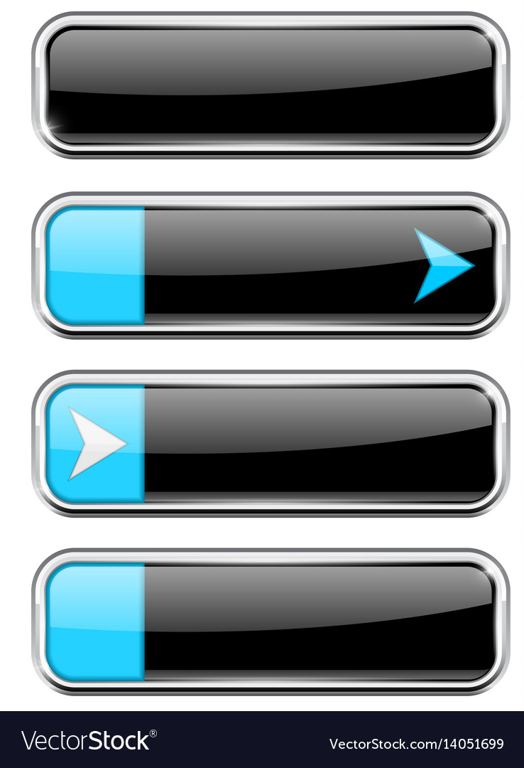 Black buttons with blue tags menu interface