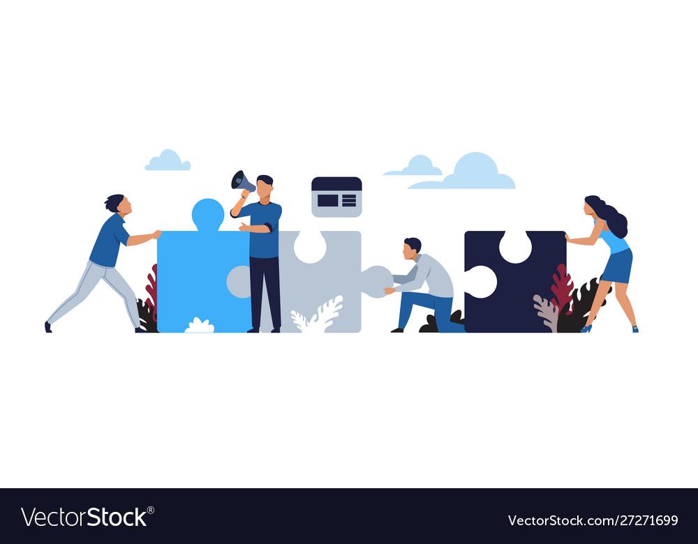 Business puzzle concept cartoon businessman