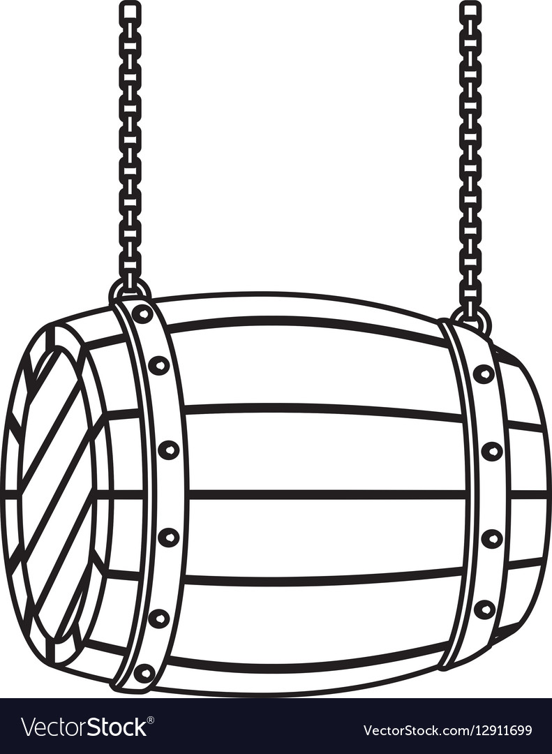 Contour wooden barrel icon image design vector image