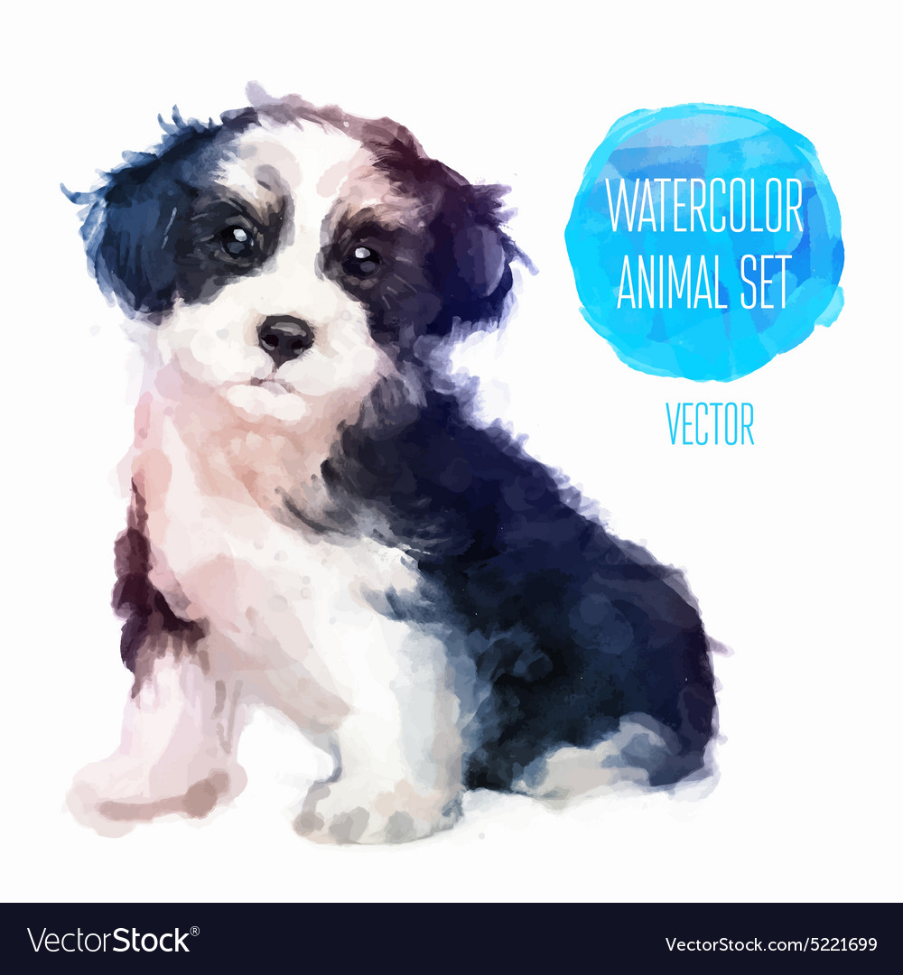 Dog hand painted watercolor