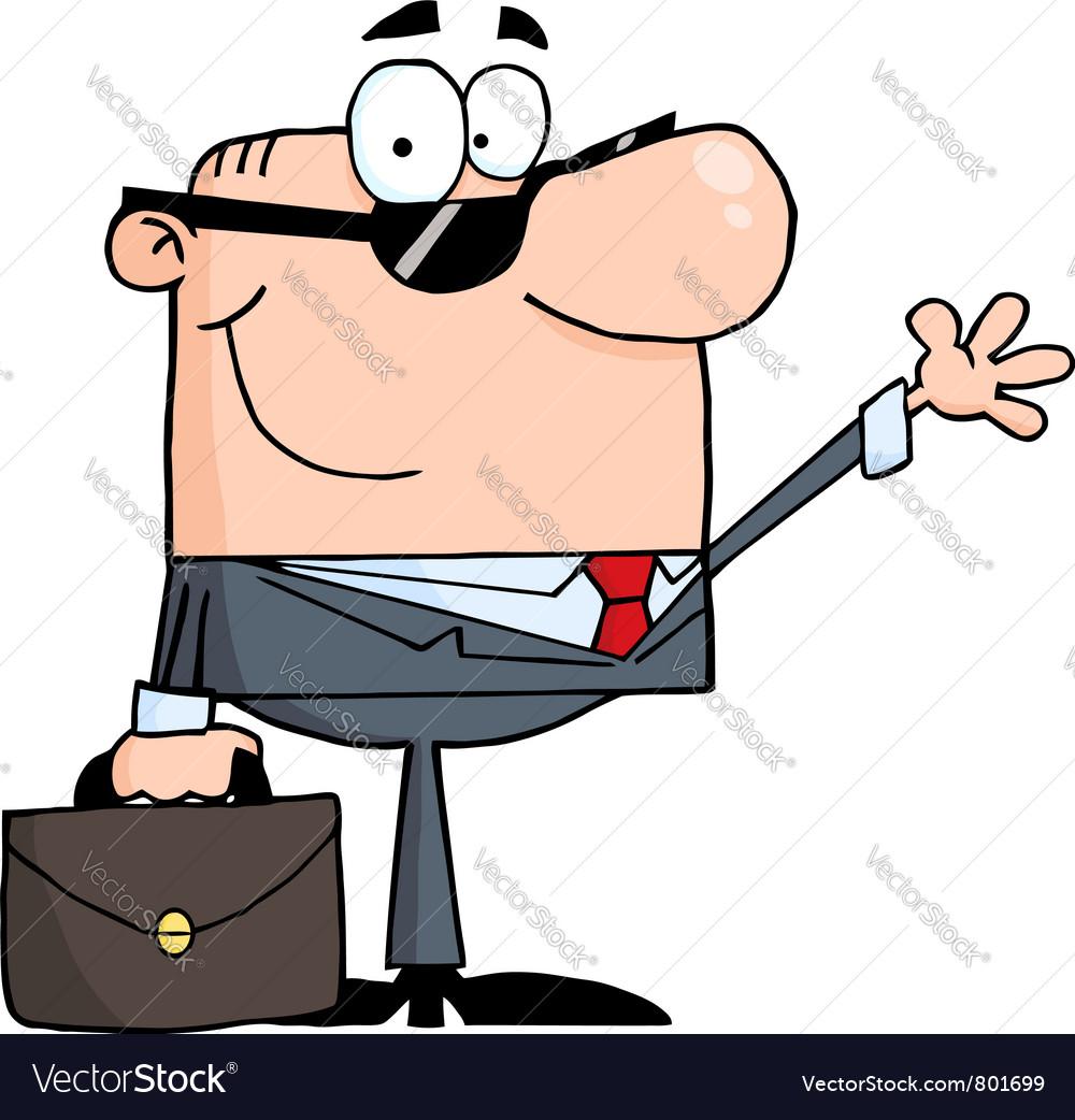 Friendly businessman waving a greeting vector image