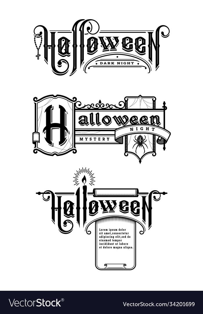 Halloween vintage font set emblem in old