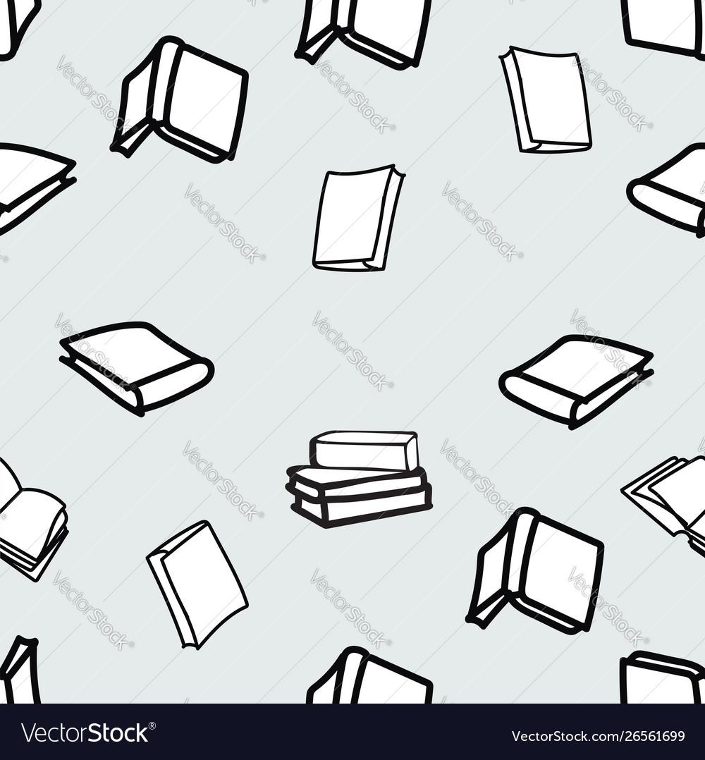Hand drawn books seamless pattern
