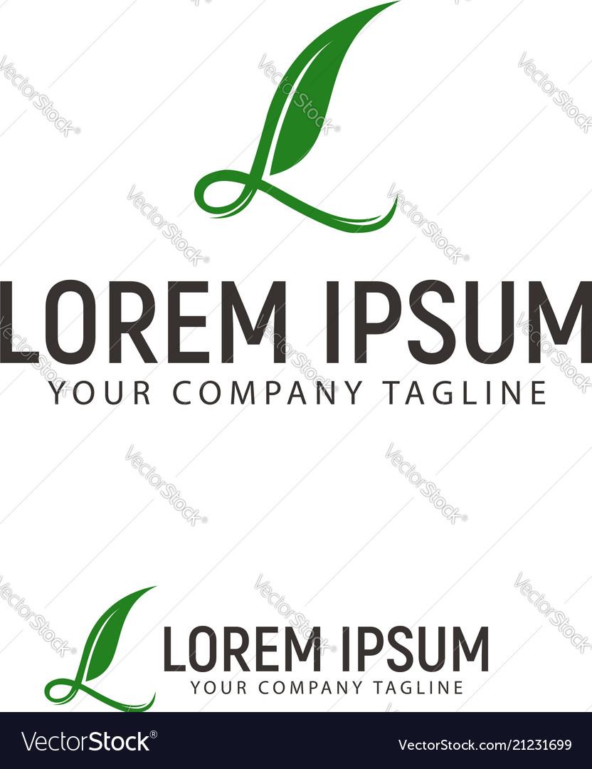 Letter l leaf logo design concept template