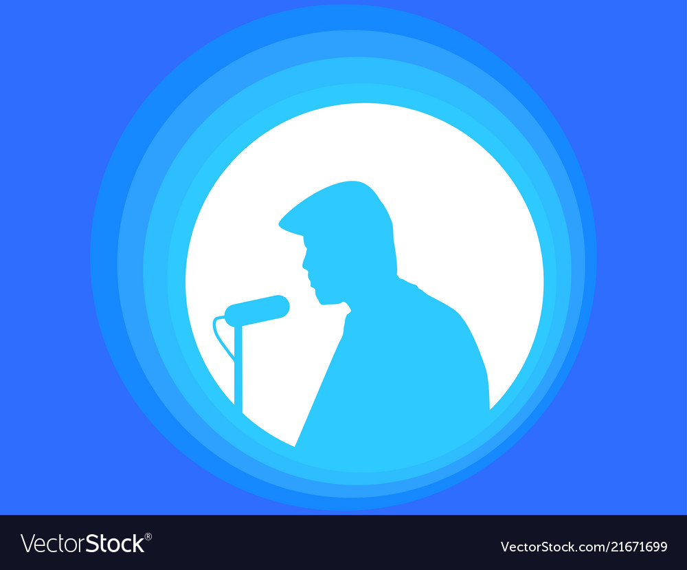 Man with microphone speakers speech silhouette of