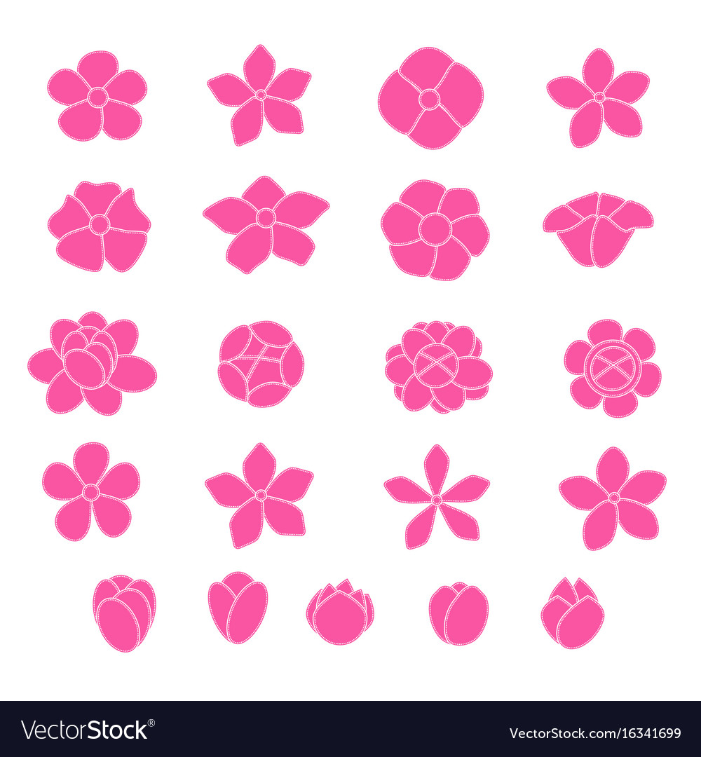Pink flower icon set on white background vector image