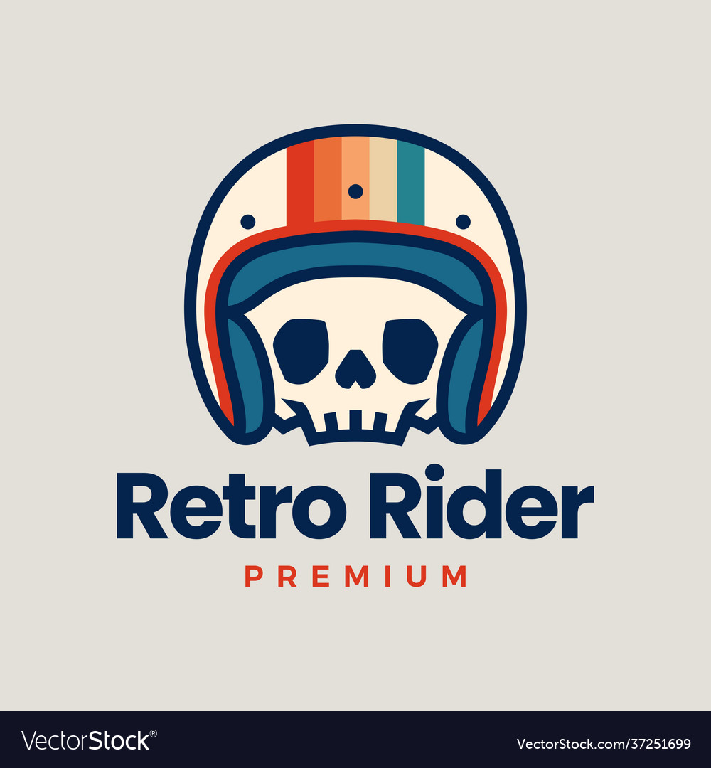 Retro skull helmet rider motorcycle club logo icon vector