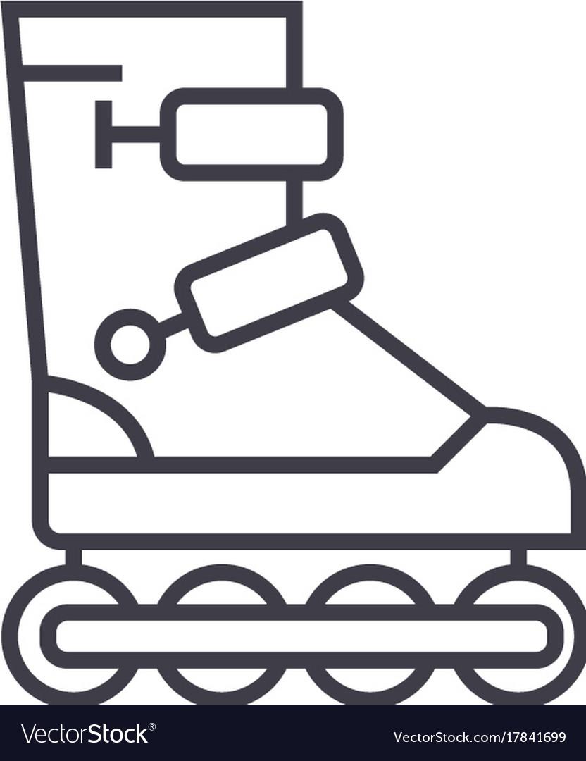 Roller skates line icon sign