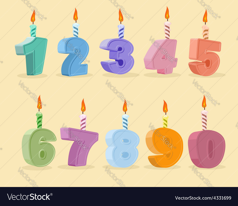 Set Birthday Candles Cartoon Numbers Vector Image